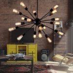żyrandol loft – industrialny w salonie – aranżacja
