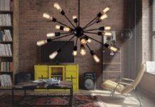 żyrandol loft - industrialny w salonie - aranżacja